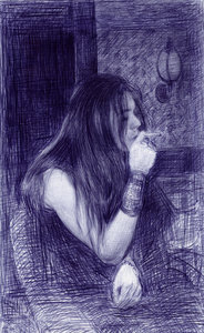 Smoke 2005 ball point on paper frame 69.8x43.2cm 184 xxx q85
